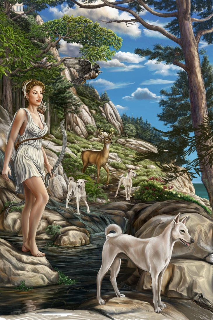 Greek mythology artemis pan plus adam eve too pure Goddess of nature greek